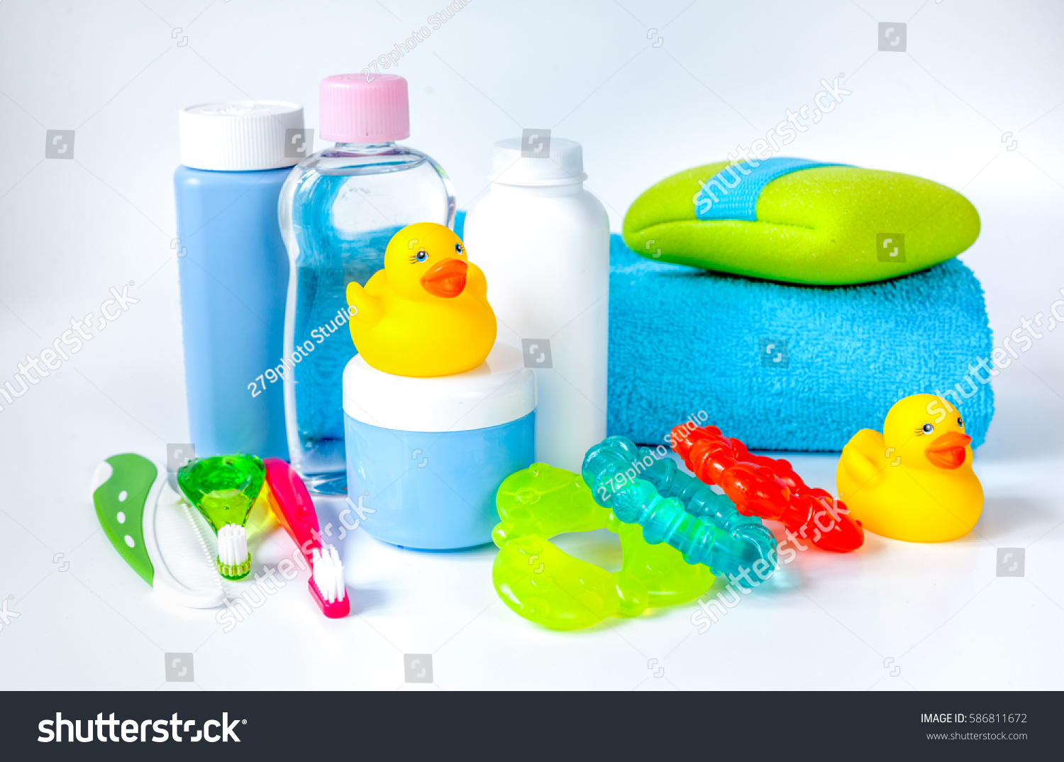 Baby Accessories Bath Duck On White Stock Photo (100% Legal ...