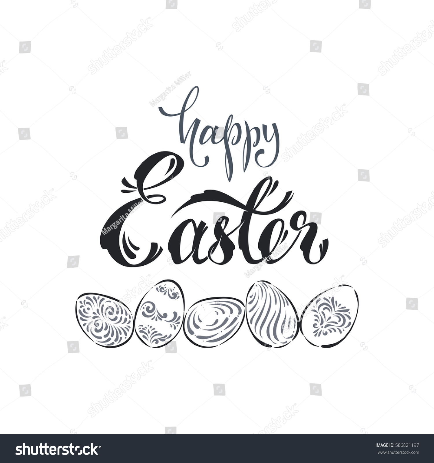 Calligraphy happy easter eggs patterns isolated stock