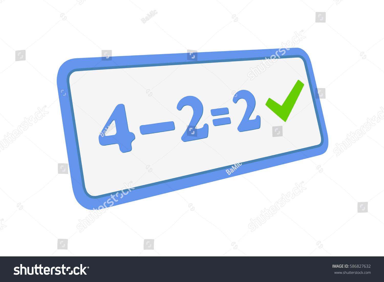 Subtraction Check Mark Basic Math Kids Stock Illustration 586827632 ...