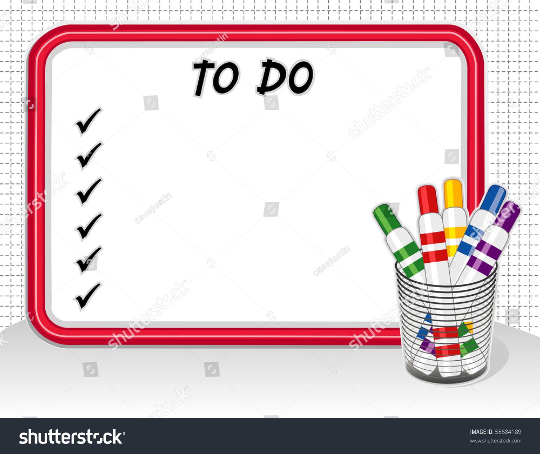 Do It Yourself Home Design: To Do List Whiteboard, Marker Pens In Desk Organizer. Copy