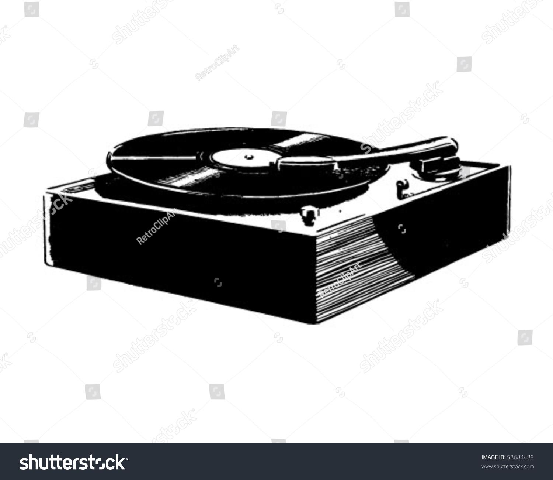 Record Player Retro Clip Art Stock Vector 58684489 - Shutterstock