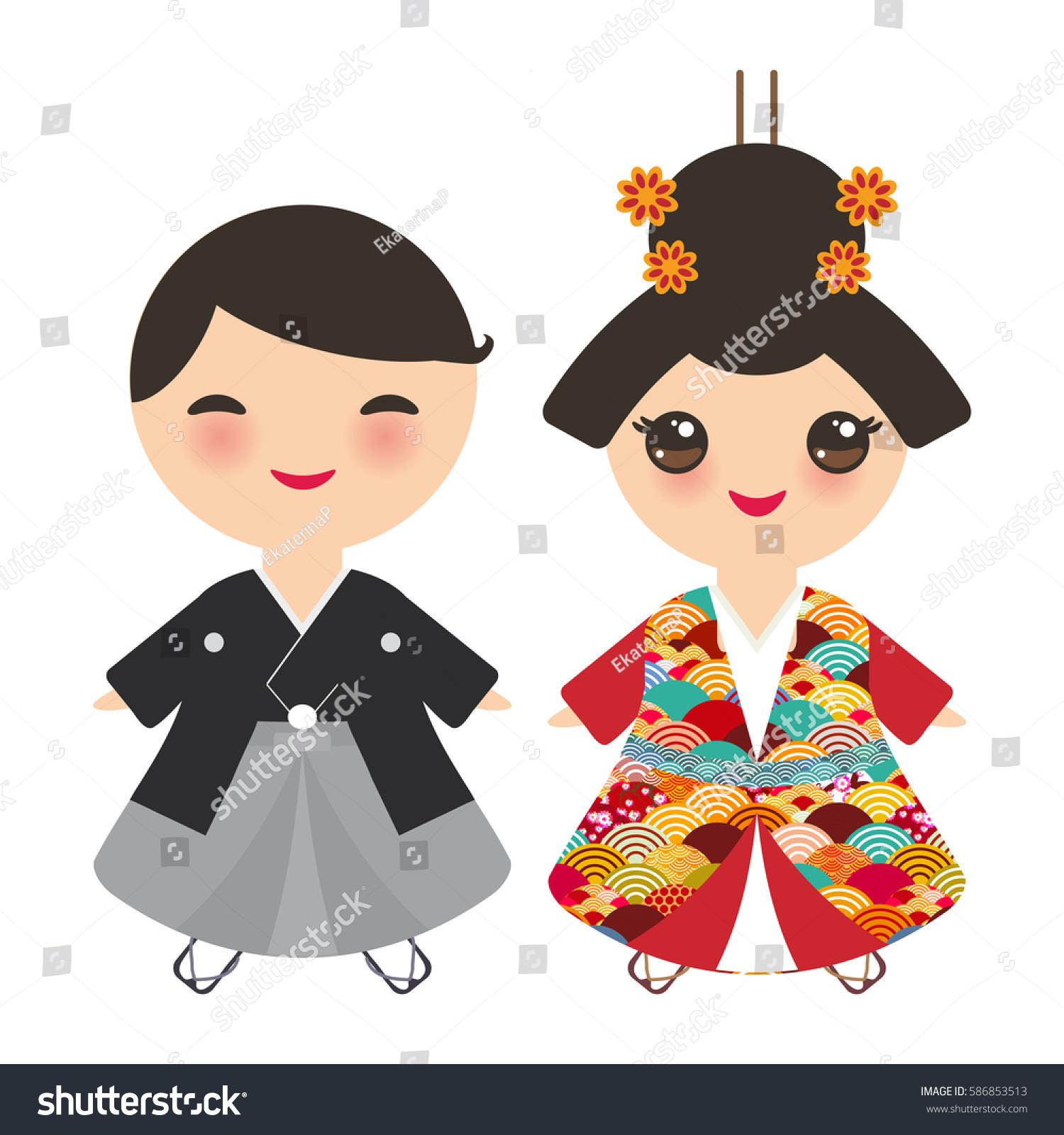 Japanese Boy Girl National Costume Kimono Stock Vector
