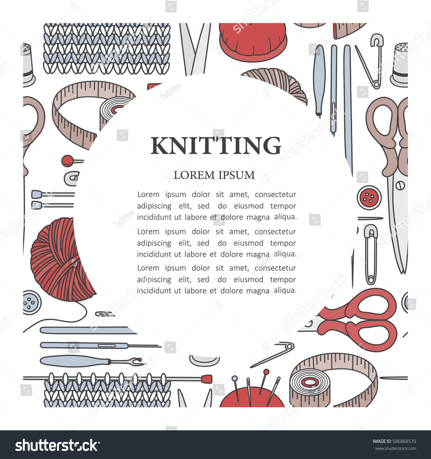 Poster design tools - Set Of Tools For Knitting And Text Hand Drawn Icons Colorful Poster Design