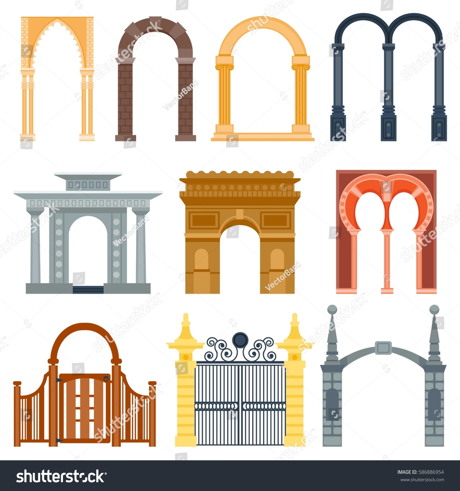 Arch design architecture construction frame classic stock vector 586886954 shutterstock - Arch main door designs ...