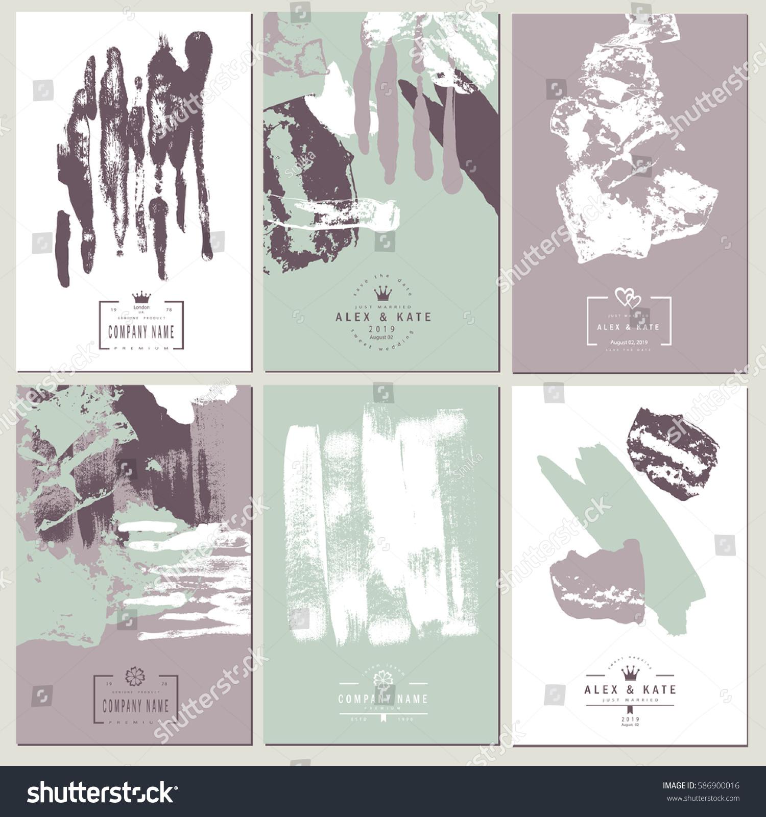 set creative business card template wedding stock illustration