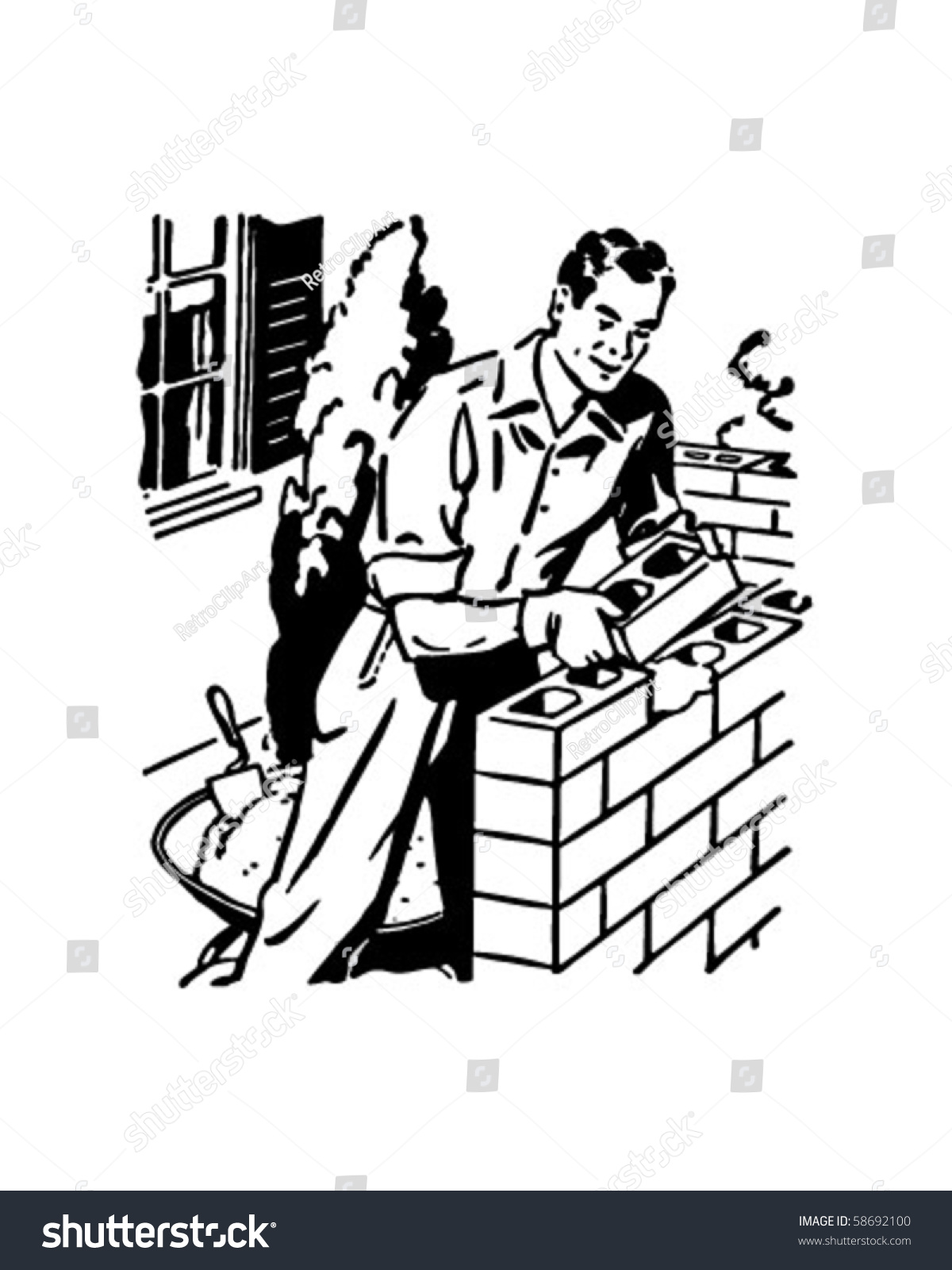 Bricklayer Retro Clip Art Stock Vector 58692100 - Shutterstock