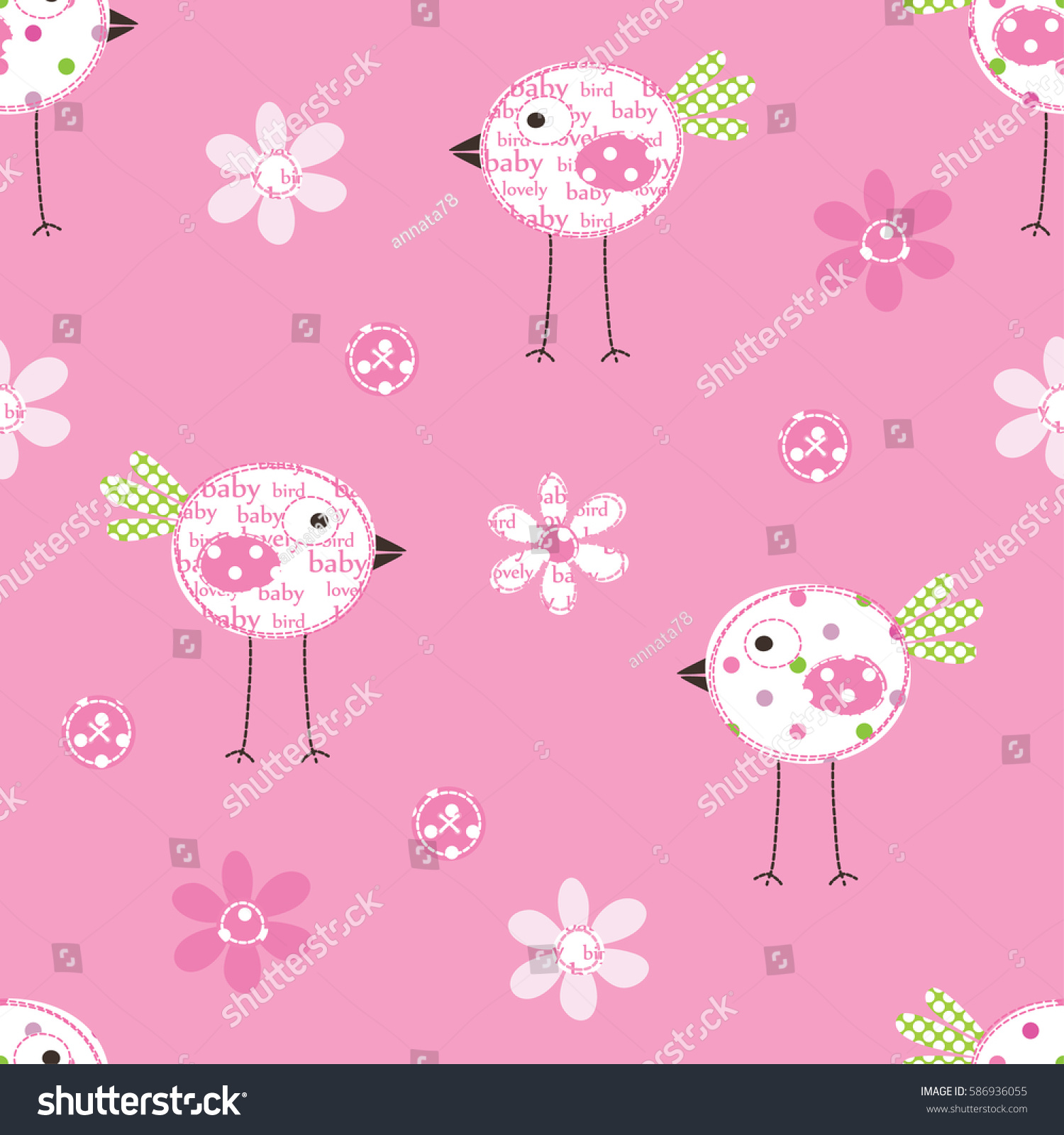 Seamless Pattern Birds Flowers Wrapping Paper Stock Vector 586936055