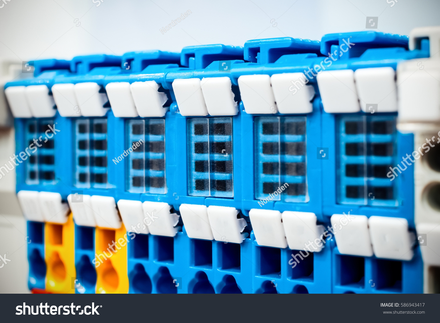 Astonishing Electric Wiring Connectors Terminal Block Industrial Stock Photo Wiring 101 Breceaxxcnl