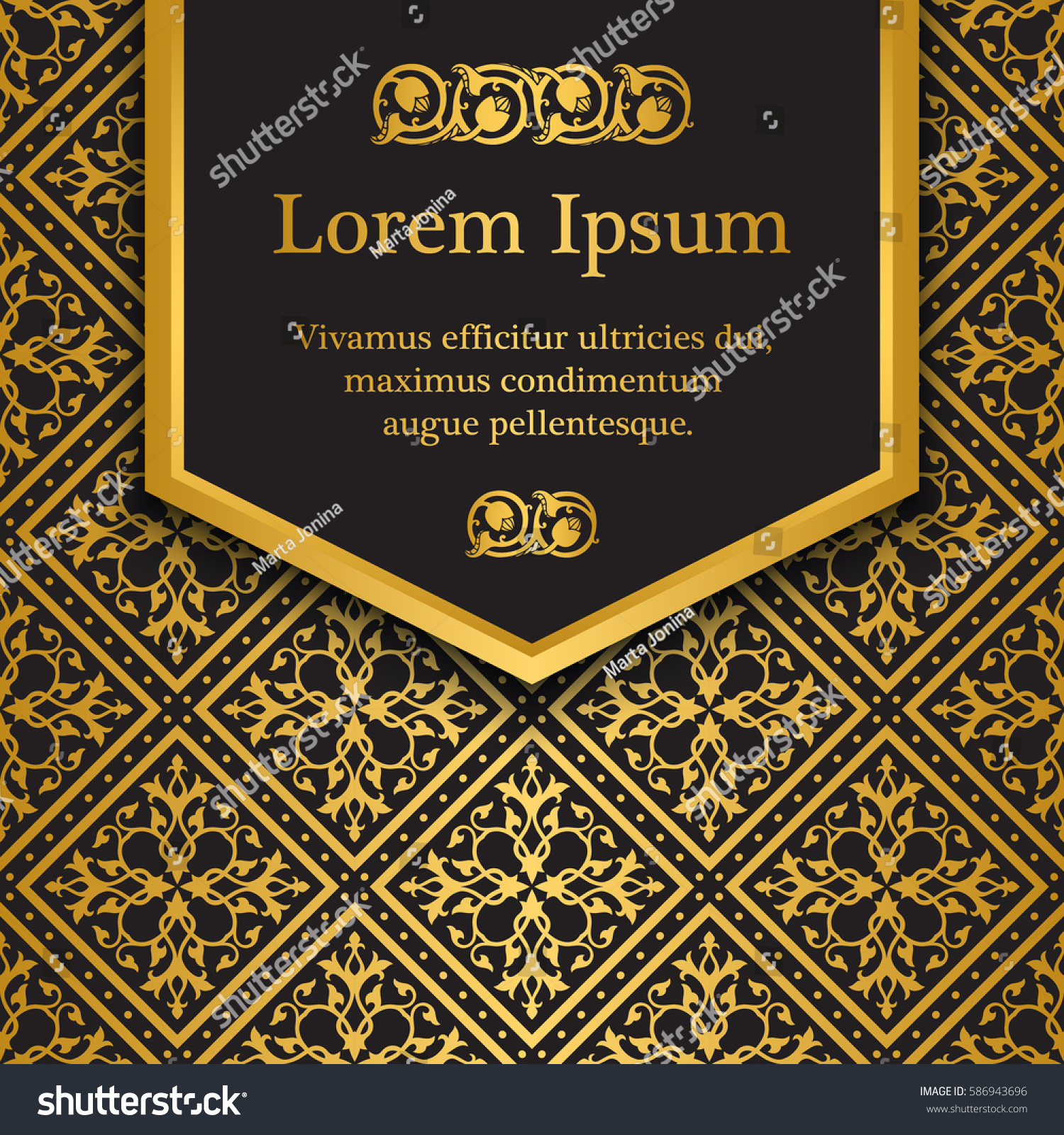 Quran Book Cover Template : Background gold floral pattern inspired by stock vector