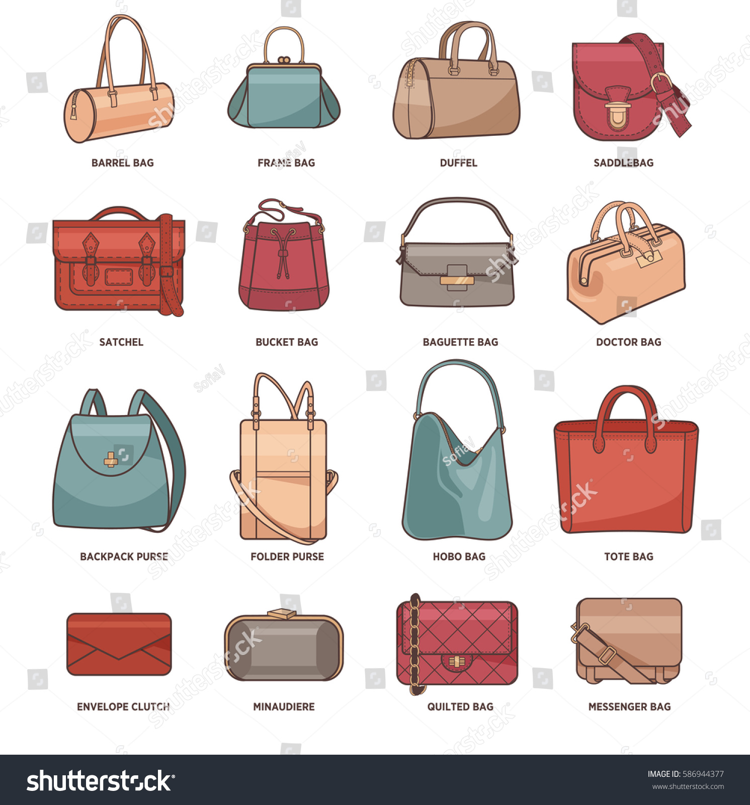 Vector Set Types Bags Clutches Purses Stock Vector ...