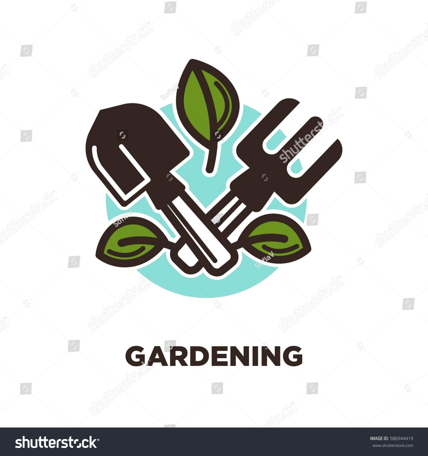 gardening logo design spade rake green stock vector