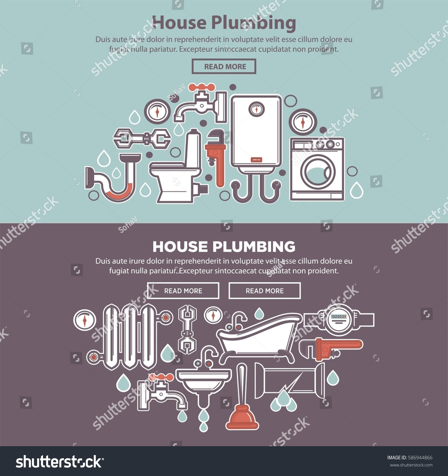 House plumbing colorful web poster tubes stock vector for R f bathrooms and kitchens