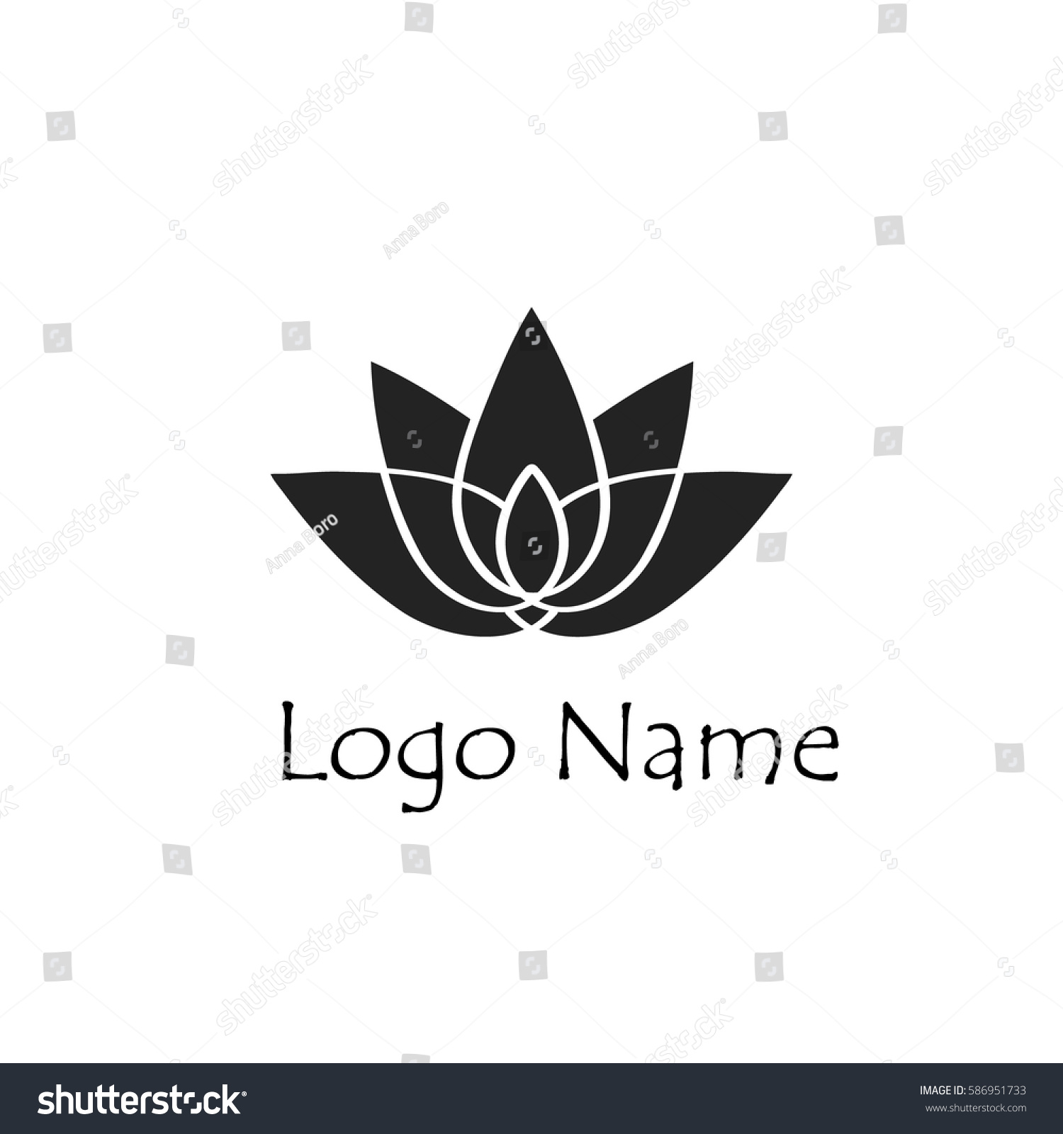 Lotus Flower Logo Simple Flat Style Stock Vector Royalty Free