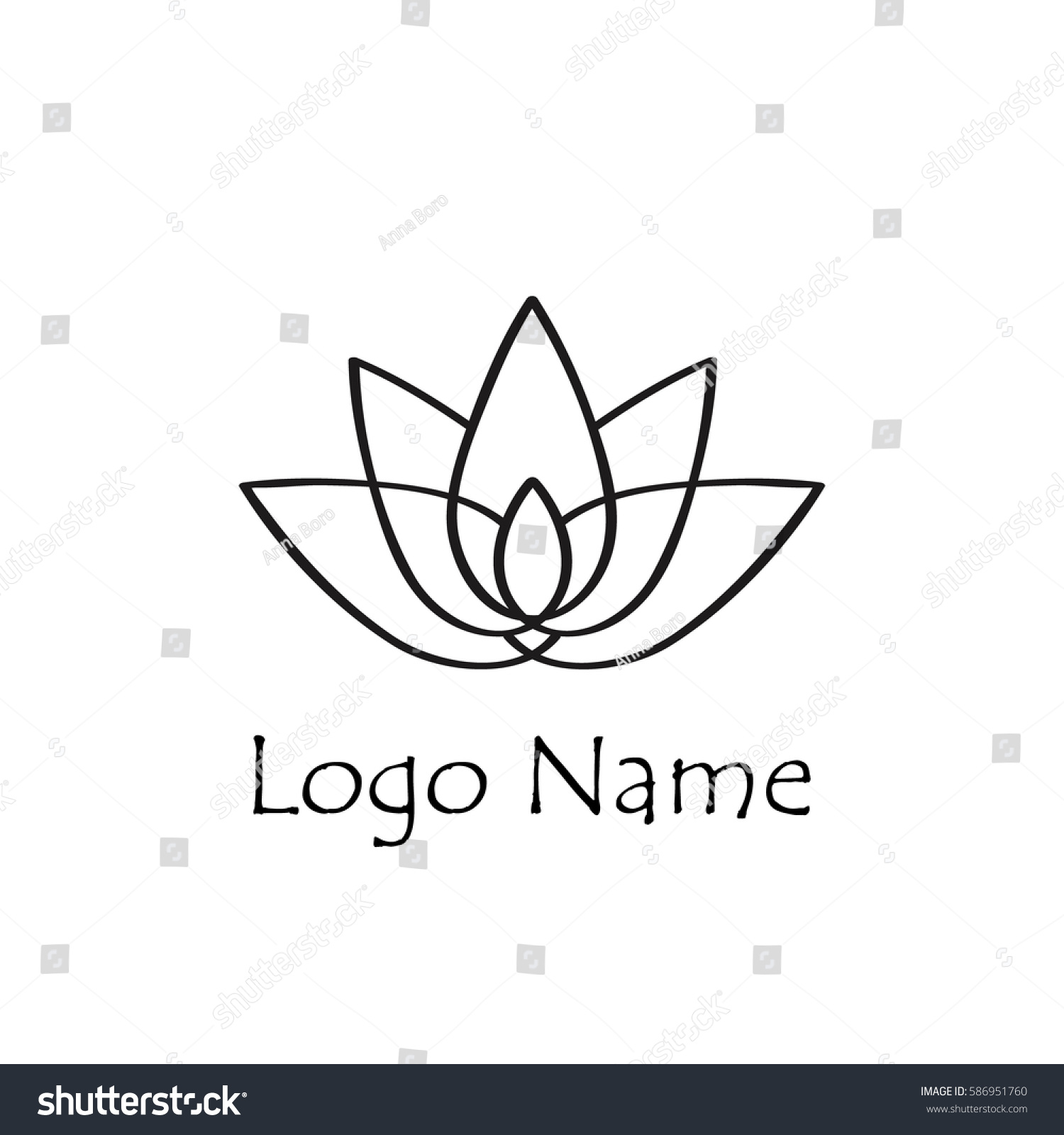 Lotus Flower Logo Simple Flat Style Stock Vector Royalty Free