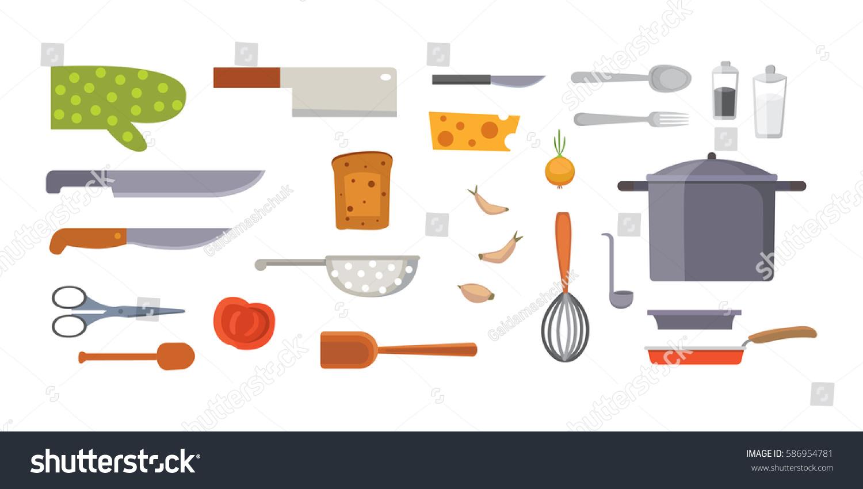 Vector set kitchen utensils cooking tools stock vector for Kitchen set vector