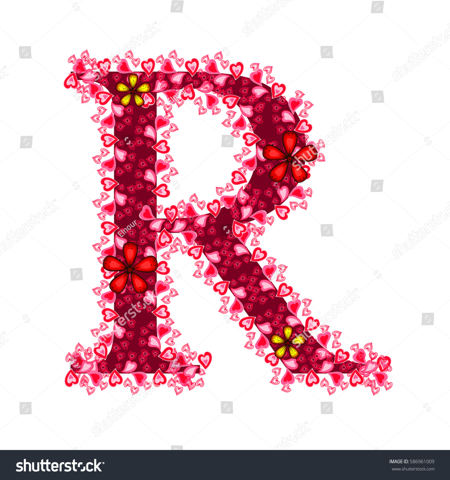 Alphabet Hearts R Red Letter Hearts Stock Vector (Royalty Free ...
