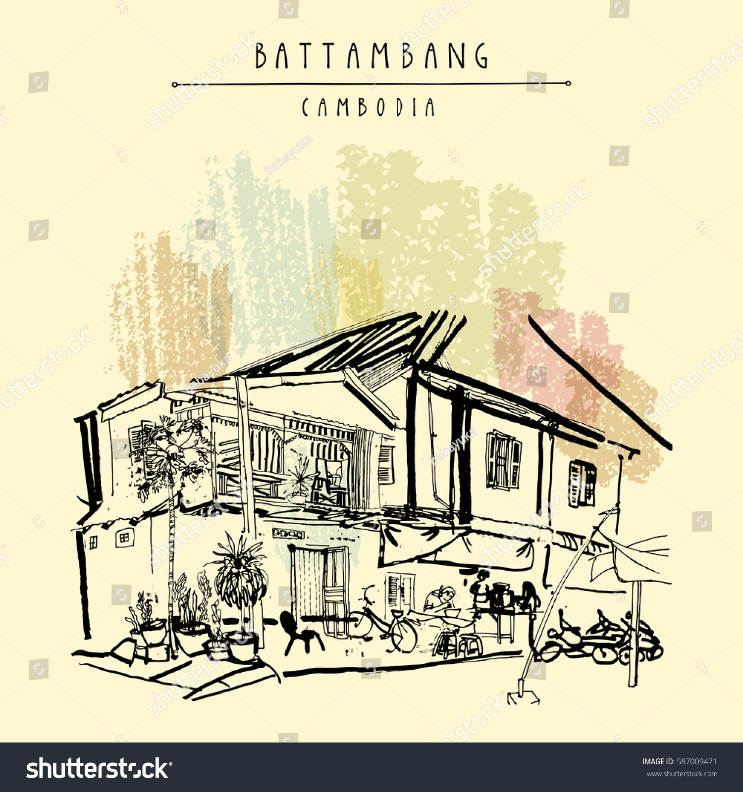 Battambang Cambodia Southeast Asia Residential House And Cafe In Old Town French