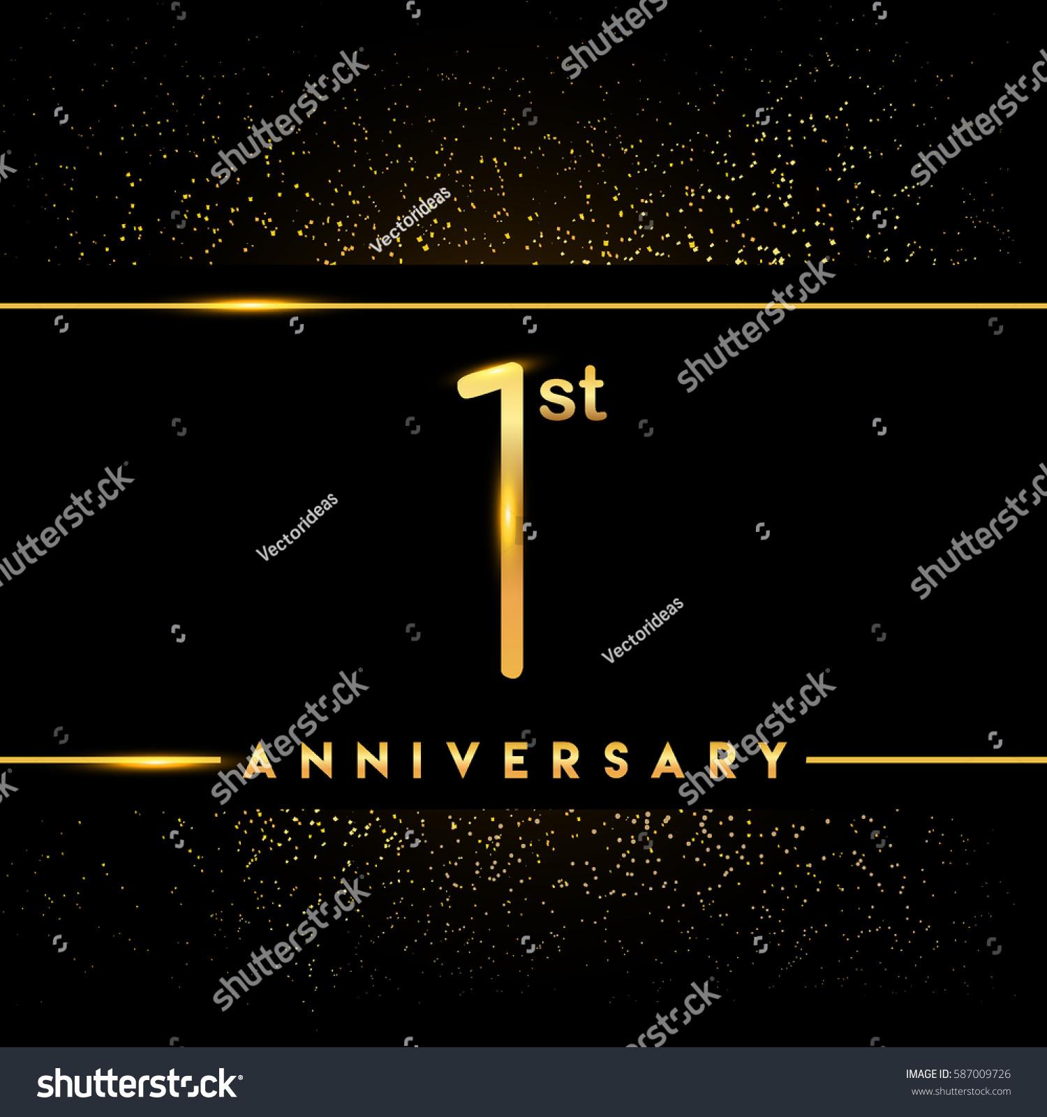 One year anniversary celebration logotype 1st stock vector 2018 one year anniversary celebration logotype 1st anniversary logo with confetti golden colored isolated on black stopboris Choice Image
