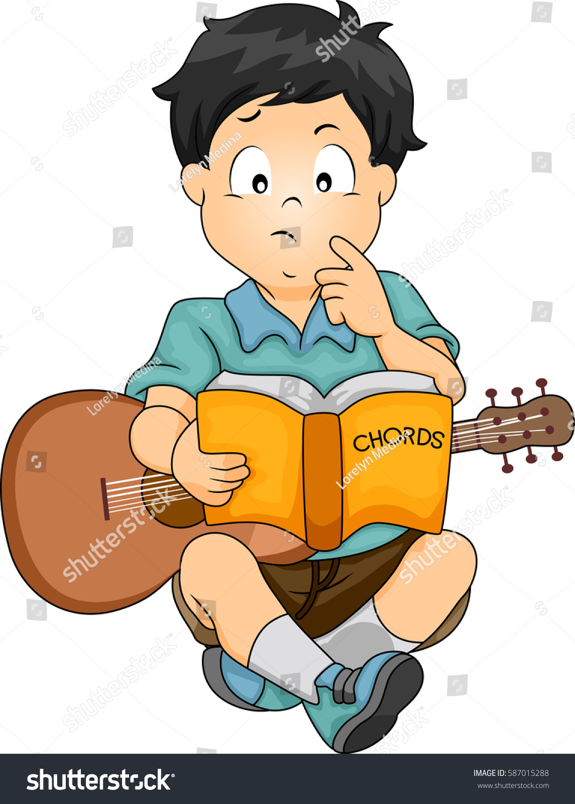 Illustration Featuring Confused Boy Guitar On Stock Vector Royalty