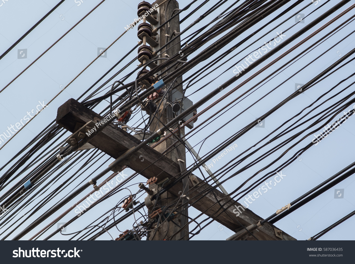 Thailand Messy Wires Including Electrics Phone And Others Wiring Id 587036435