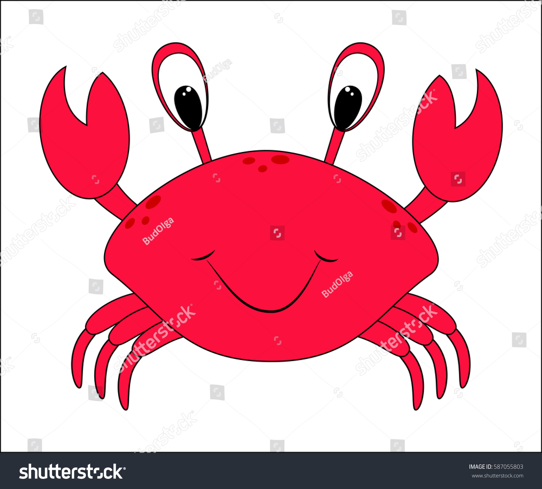 Funny Cartoon Crab Sea Animal Sea Stock Vector 587055803 - Shutterstock