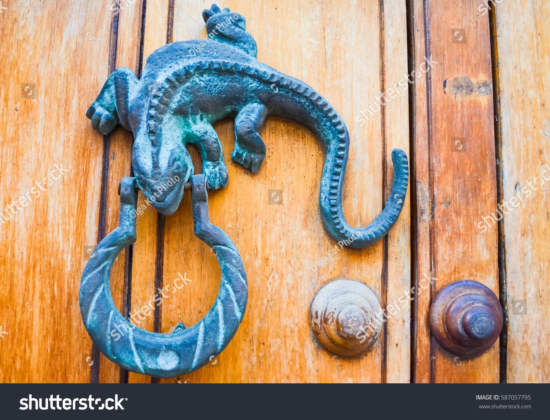 Metal Door Knocker Lizard Shape On Stock Photo 587057795 ...
