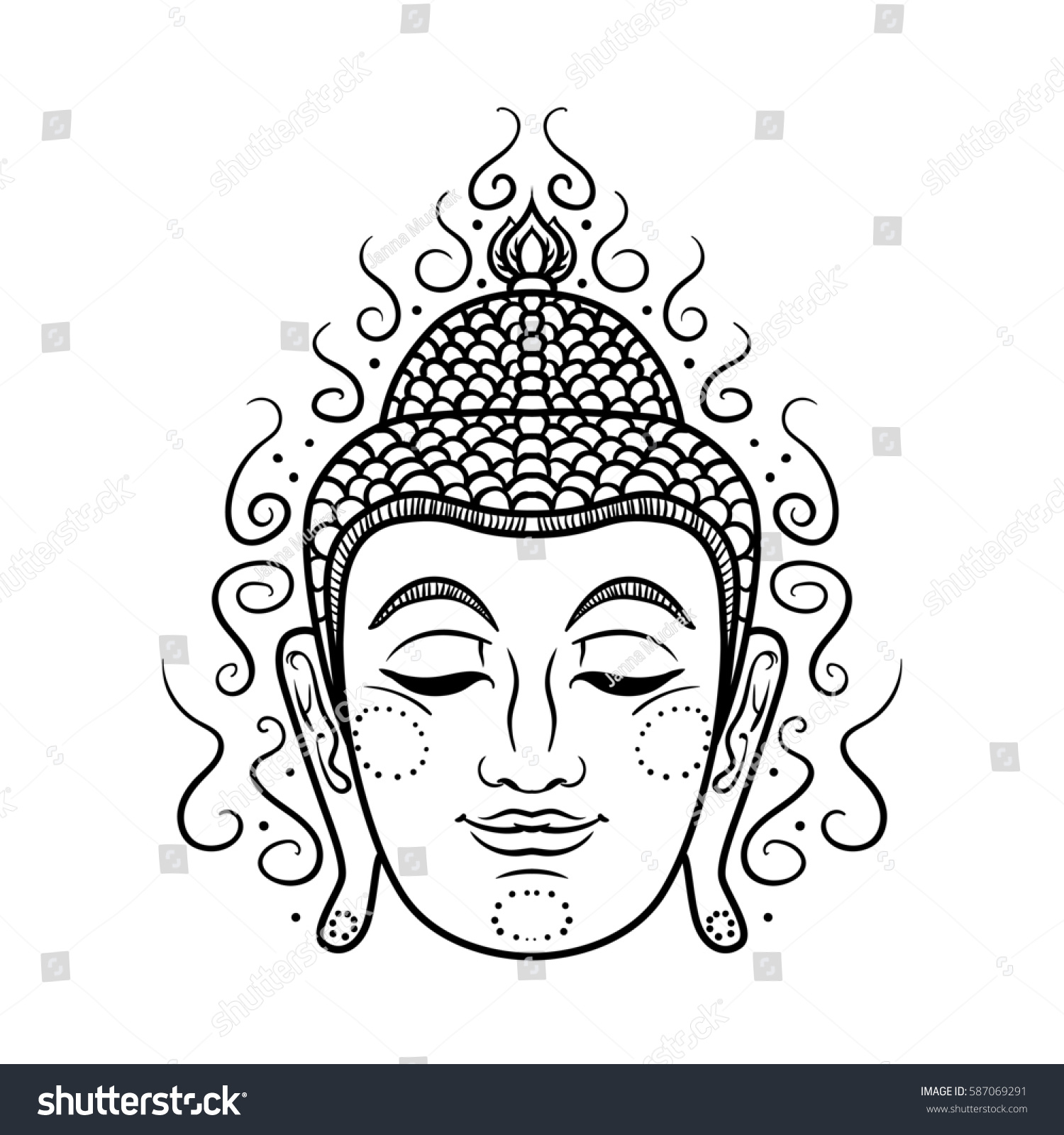 4a0e913bcbd3f Buddha face isolated on white. Esoteric vintage illustration. Indian,  Buddhism, spiritual art.
