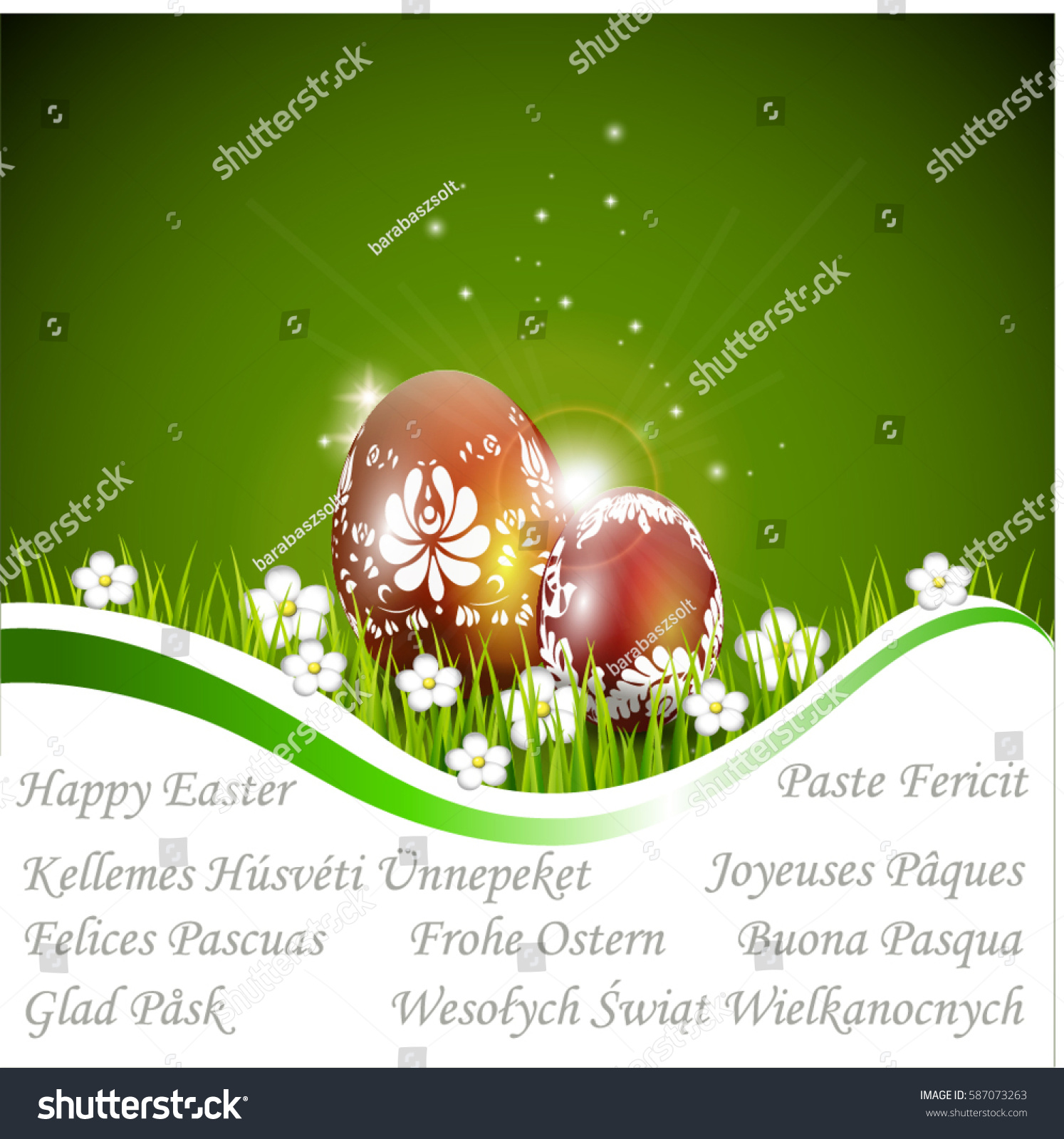 Easter card hungarian motifs happy easter stock vector 587073263 easter card with hungarian motifs and happy easter in different languagesenglish romanian m4hsunfo