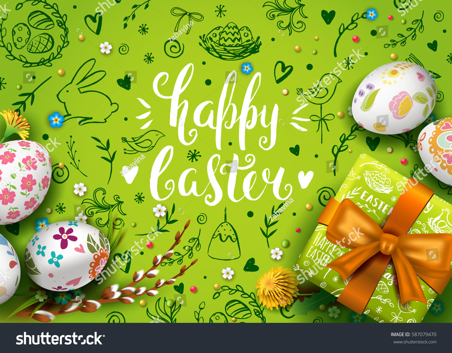 Template vector card realistic eggs gift stock vector 587079470 template vector card with realistic eggs gift box and flowers handwriting inscription happy easter negle Image collections
