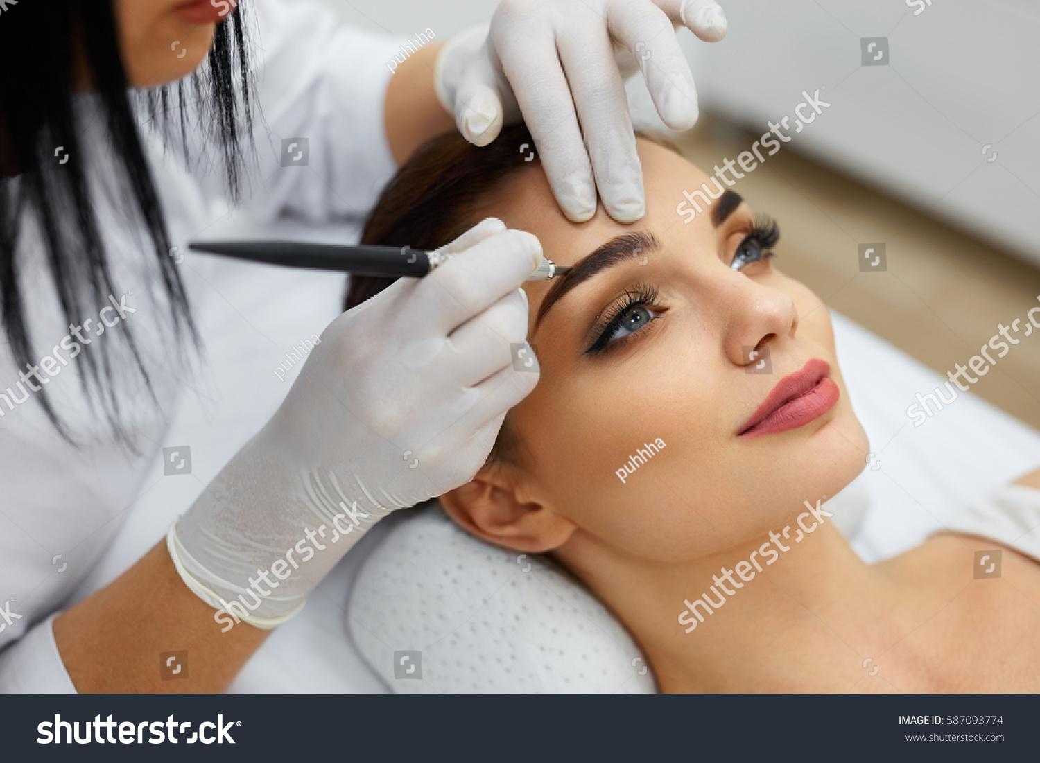 Permanent Makeup For Eyebrows Closeup Of Beautiful Woman With Thick