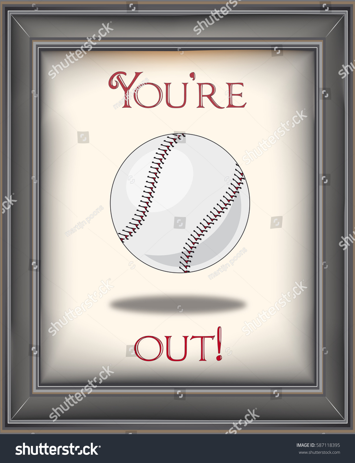 03a1c75e1326 Retro baseball poster in frame with baseball on old paper background with  you are out typography