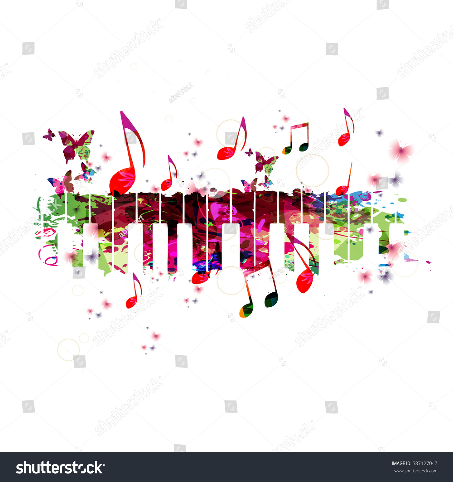 Poster design notes - Colorful Piano Keyboard With Music Notes Music Instrument Background Vector Illustration Design For Poster