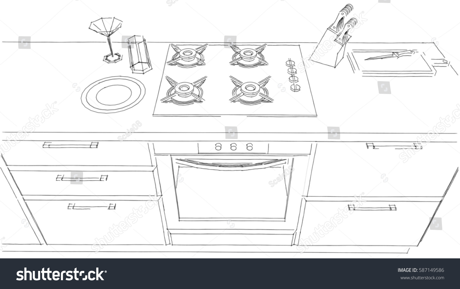 Sketch Drawing Of Built In Kitchen Stove And Oven Black White 3D Top