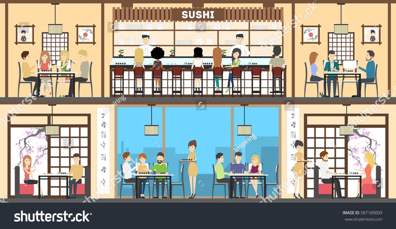 Sushi Bar Interior Set Oriental Style Stock Vector 587189009 ...
