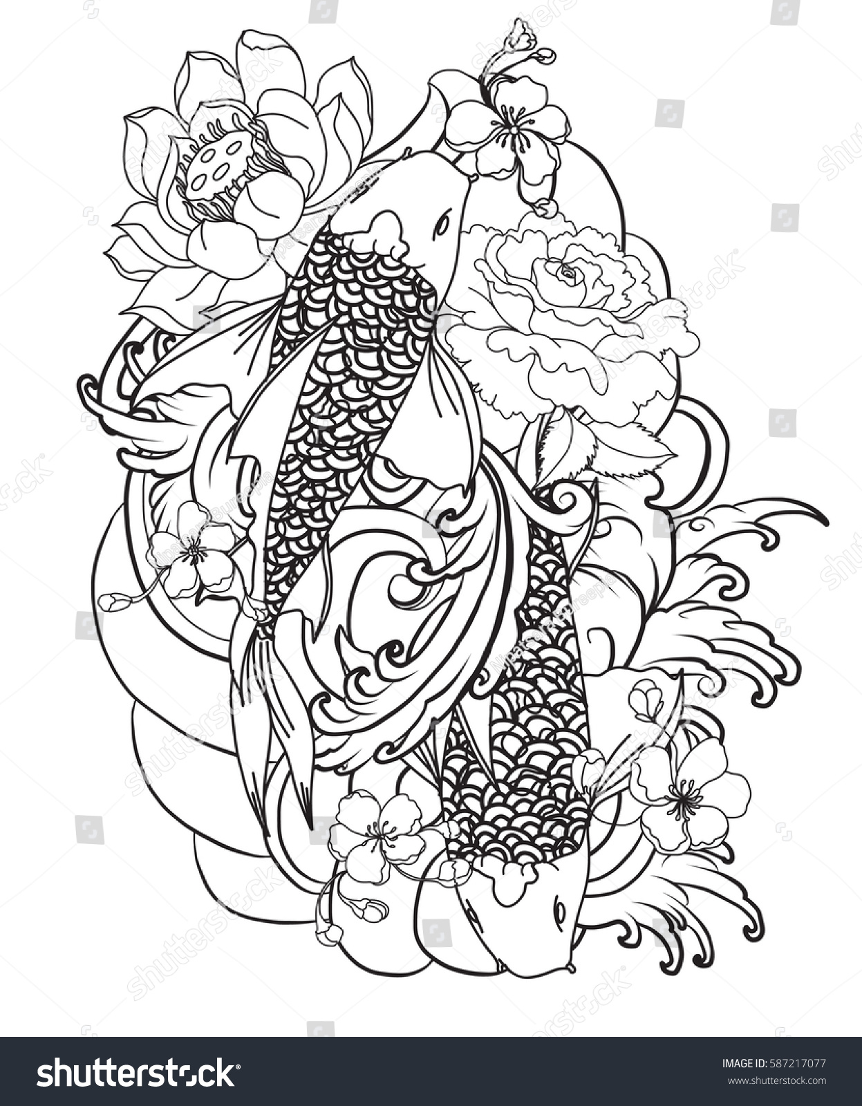 Tattoo Line Drawing Books : Hand drawn outline koi fish tattoo stock vector