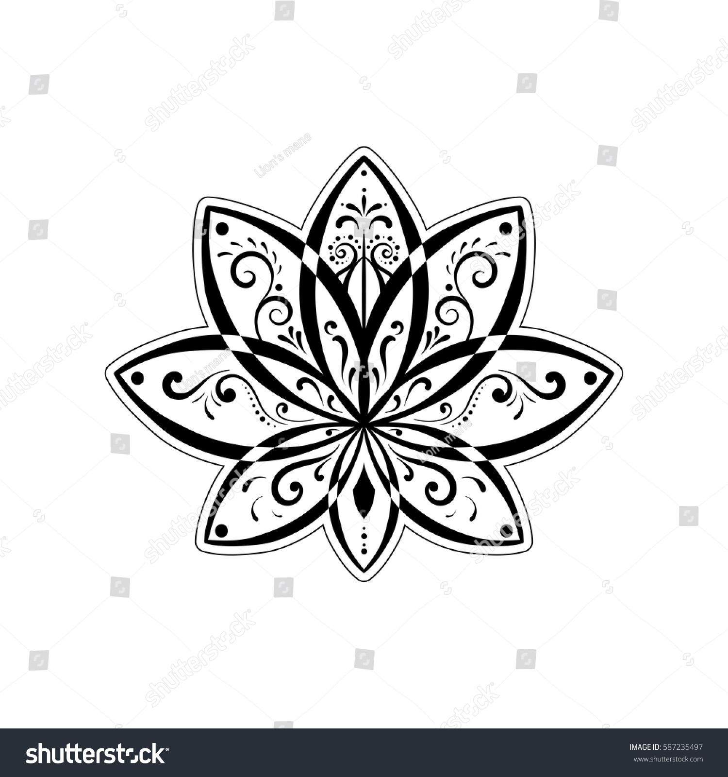Vector ornamental lotus flower water lily stock vector royalty free vector ornamental lotus flower or water lily ethnic art black hand drawn illustration izmirmasajfo