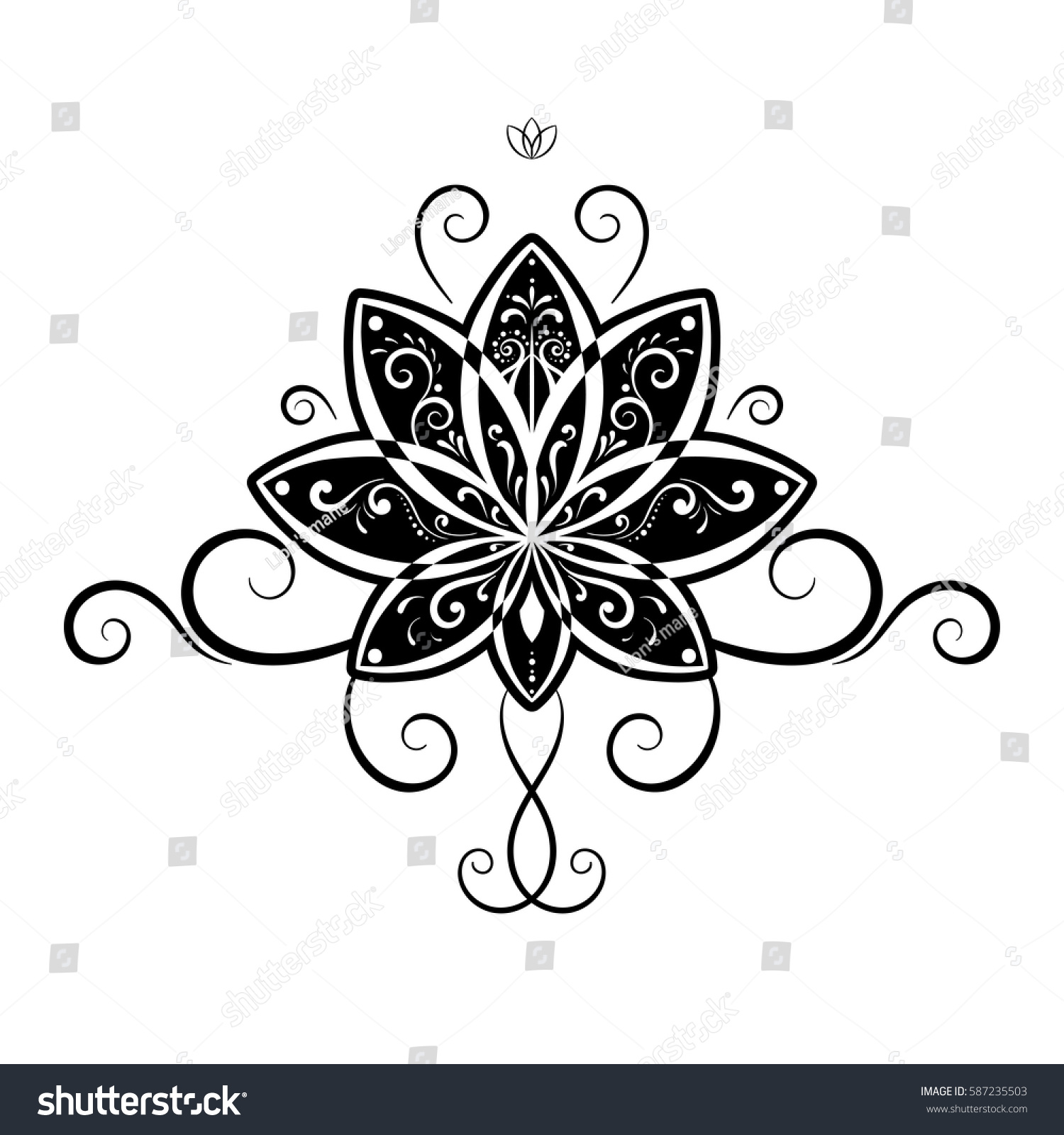 Vector Ornamental Lotus Flower Water Lily Stock Vector Royalty Free