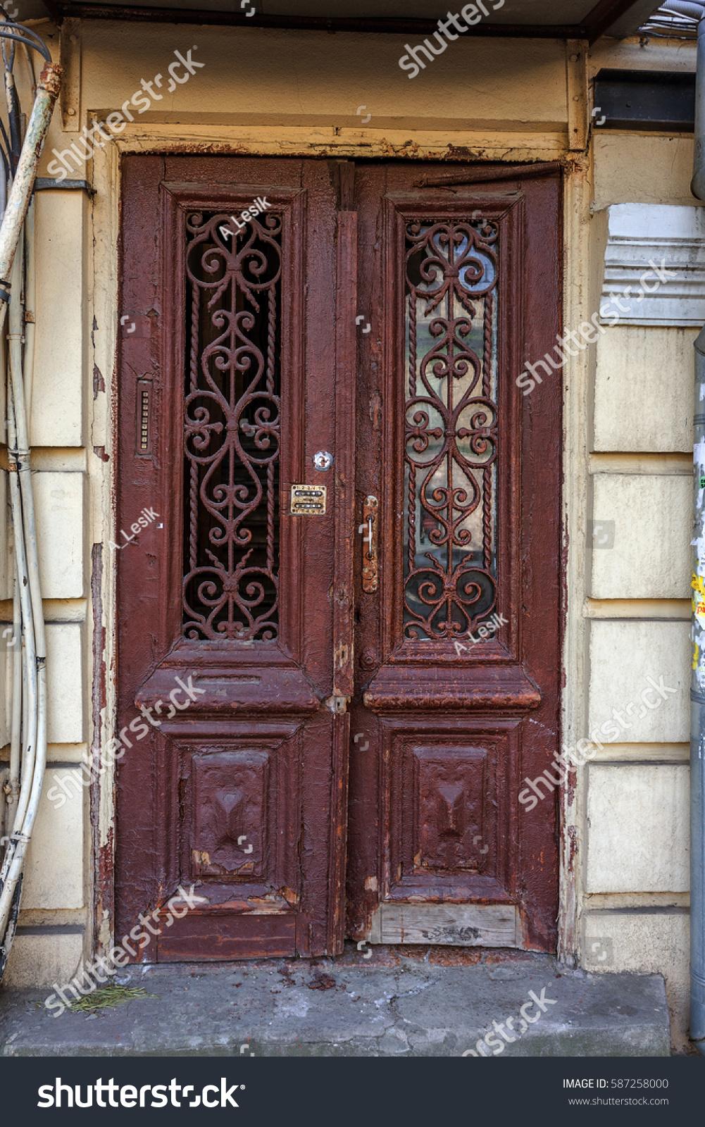 Old Retro Vintage Exterior Door Old Stock Photo Edit Now 587258000