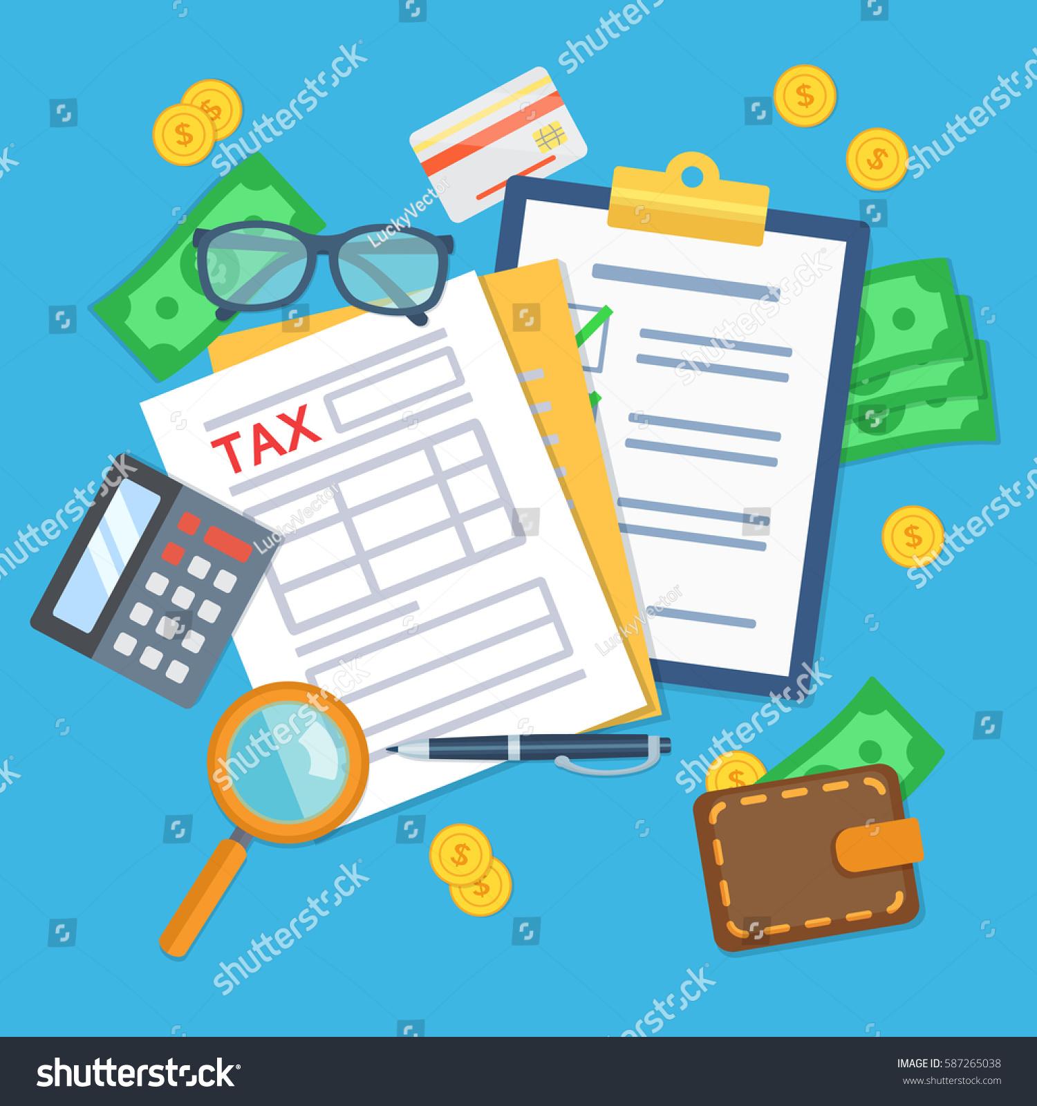 Tax Form Calculator Pen Glasses Credit Stock Vector (Royalty