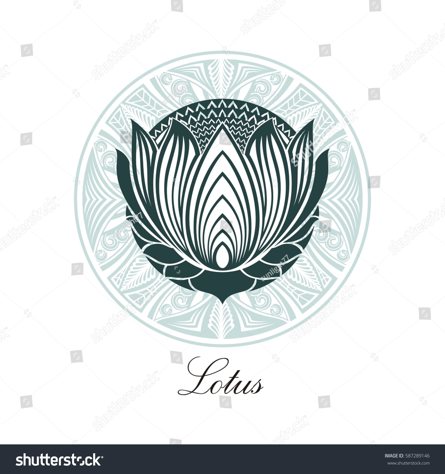 Lotus Logo Lotus Flower Logo Beauty Logo Stock Vector 587289146