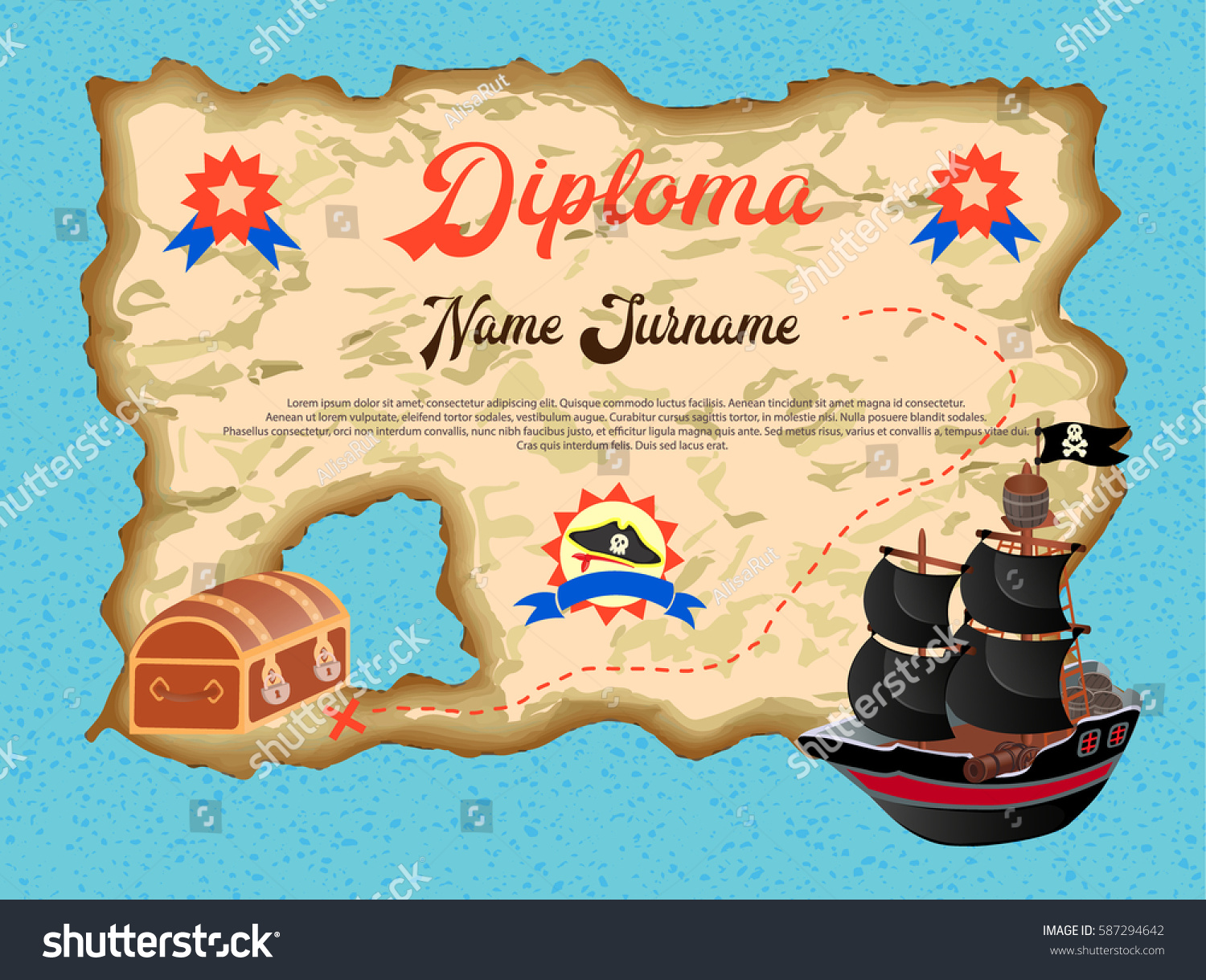 diploma winner quest search pirate treasure stock vector  diploma of the winner in the quest search of pirate treasure vector illustration