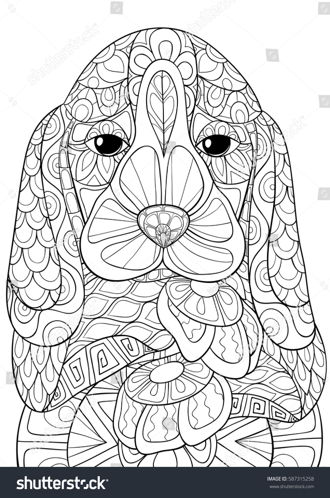 coloring bookpages beagle dog art stock vector 587315258