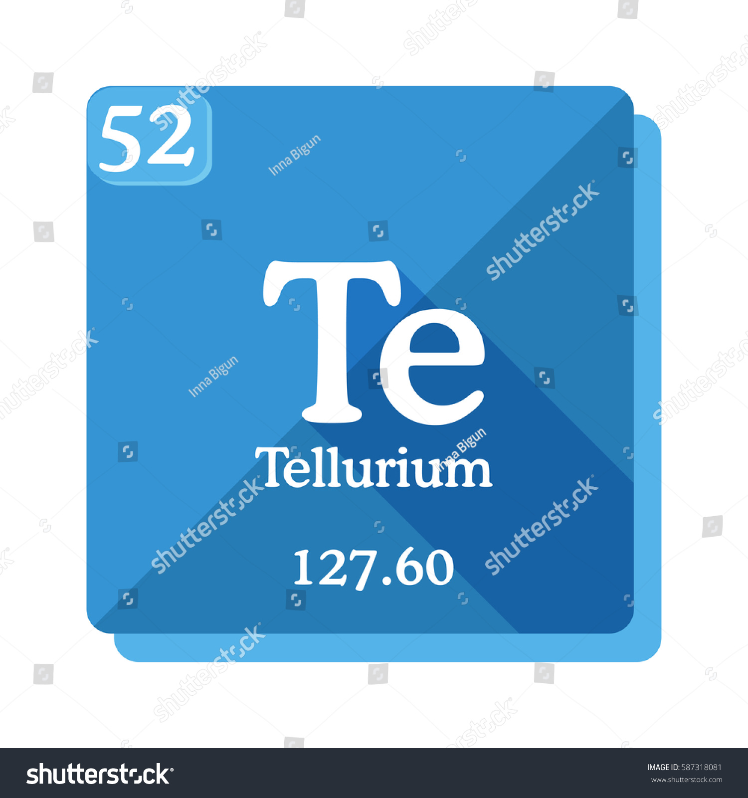 Tellurium te element periodic table flat stock vector 587318081 tellurium te element of the periodic table flat icon with long shadow gamestrikefo Choice Image