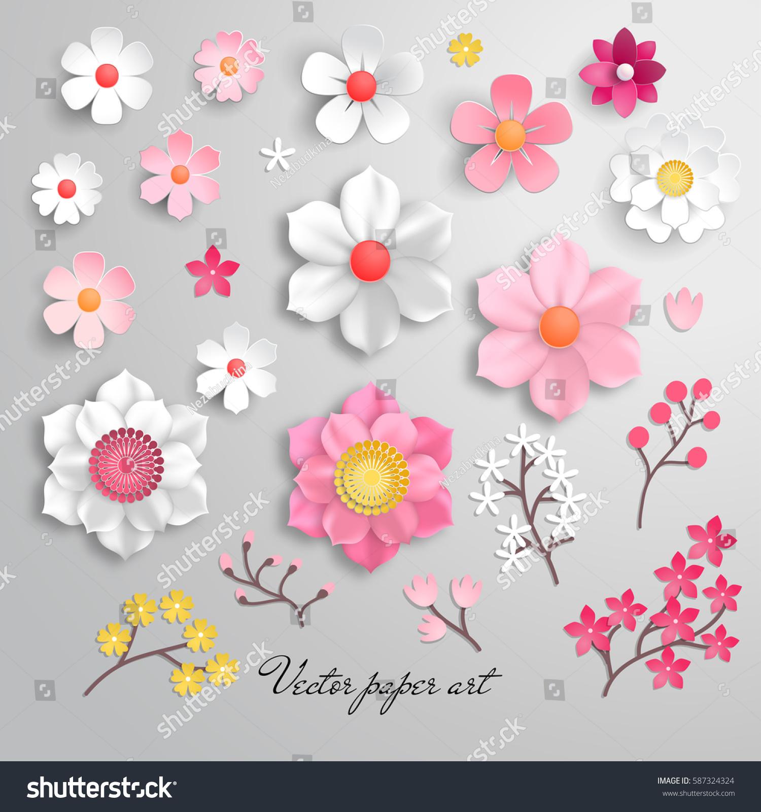 Vector Set Design Flowers Paper Cut Stock Vector Royalty Free