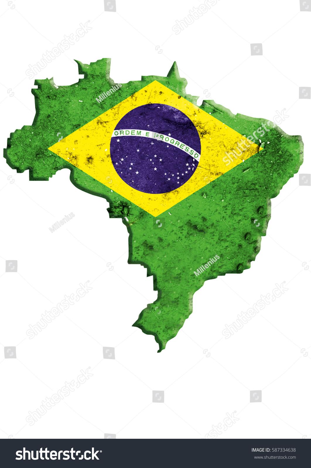 Brazil Map National Flag Federative Republic Stock Illustration - Federative republic of brazil map