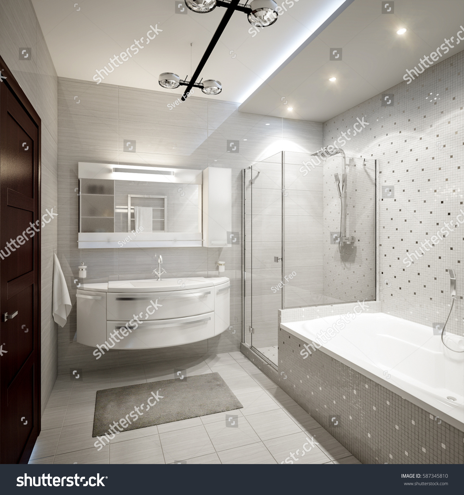 Modern Bathroom Interior White Gray Tiles Stock Illustration ...