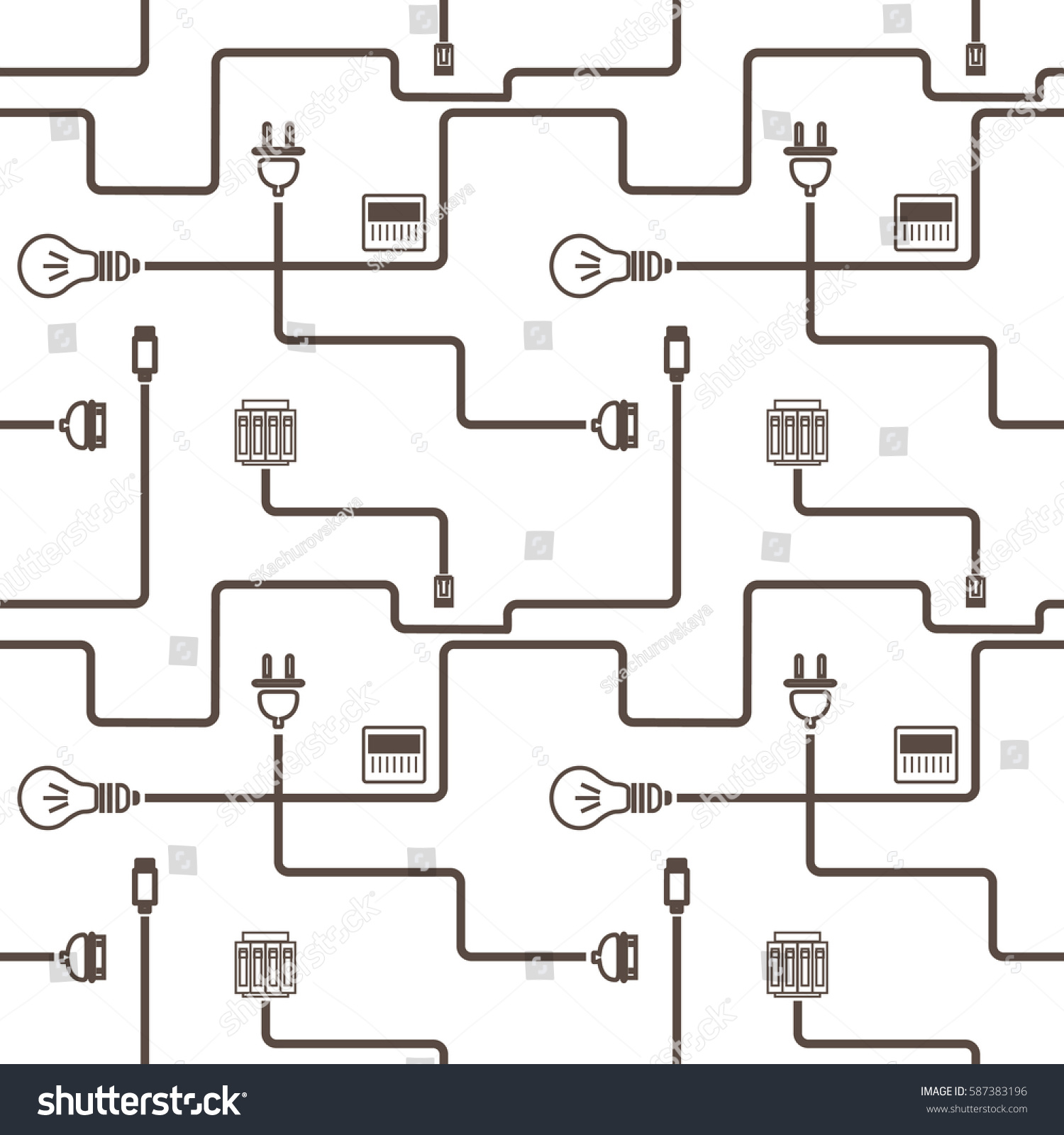 Simple Pattern Wire Electrical Products Stock Vector Royalty Free Iid Wiring Diagram With And