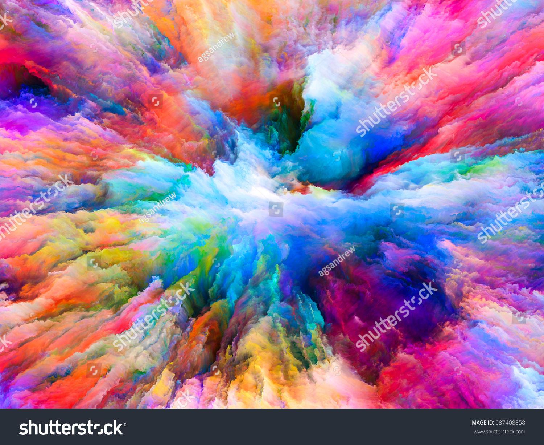 color explosion series composition fractal paint stock illustration