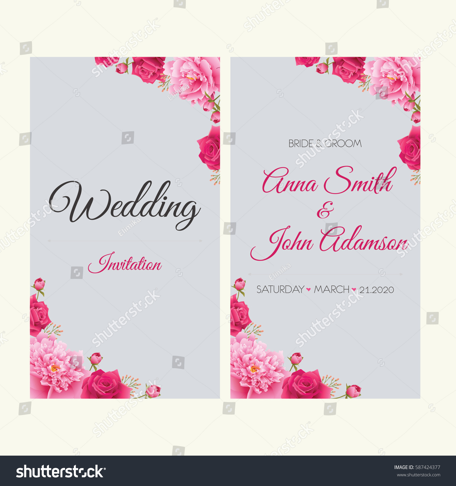 Wedding Invitation Thank You Card Save Stock Vector (2018) 587424377 ...