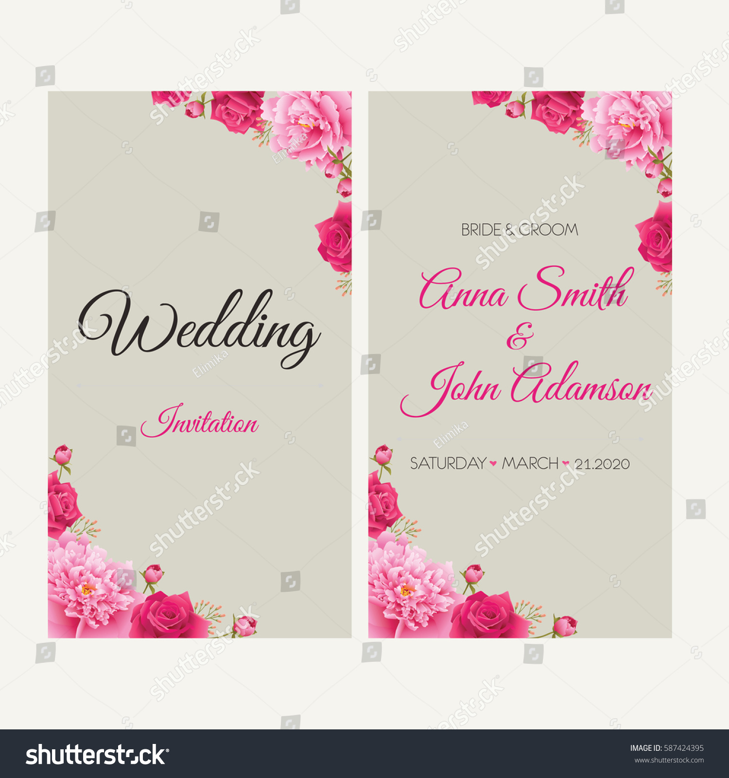 Wedding Invitation Thank You Card Save Stock Vector 587424395 ...